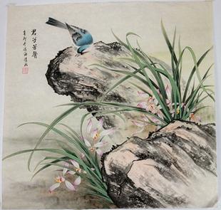 纯手绘国画冯海清手绘作品工笔国画兰花四尺斗方包邮花鸟十品