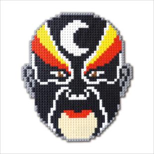 国粹 京剧脸谱 包公 像素大师 手工拼装 立体十字绣 创意装饰图片