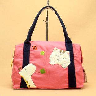 手工立体可爱卡通动物阿拉猫女士帆布女包手提包单肩包手提单肩包