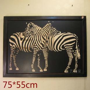 新古典木板雕刻画装饰画黑白色个性画动物斑马背景墙挂画夫妻恩爱