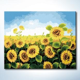 数码彩绘手绘diy数字油画大幅画花卉风景客厅装饰画向日葵太阳花