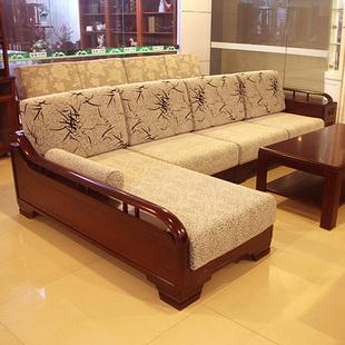 现代新中式实木沙发贵妃客厅转角木架布沙发组合家具金丝柚木沙发