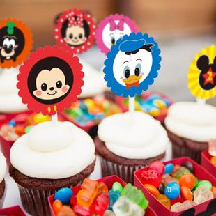 儿童生日主题派对-米老鼠/mickey米奇/minnie米妮/蛋糕装饰插牌