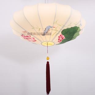 翰墨坊 中式复古 布艺手绘荷花吊灯 摆设 客厅书房卧室 酒店会所