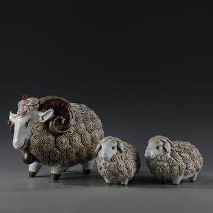 石湾陶瓷工艺品招财摆件 家居饰品艺术羊生肖动物摆设 三羊开泰