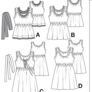 女装衣服diy纸样吊带裙小衫abcd款1:1电子纸样尺码34-44裁剪图060
