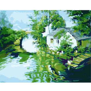 数字油画包邮中国风手绘水墨diy客厅装饰画 小桥流水人家-水乡版