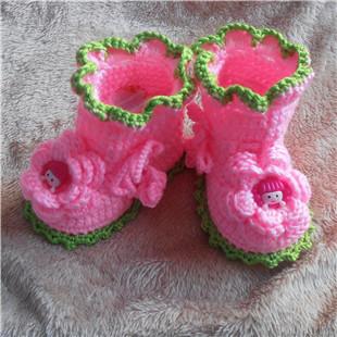 手工编织婴儿鞋宝宝毛线鞋男女宝宝学步鞋0-1岁宝宝中筒学步鞋