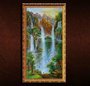 左右逢源聚寶盆油畫手繪山水風景有框畫客廳裝飾畫壁畫風水畫豎版