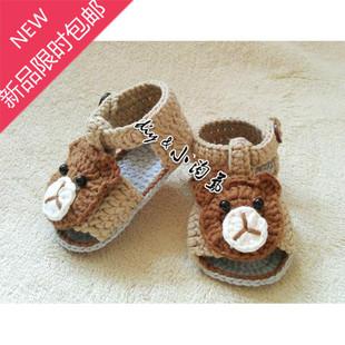 新款纯手工编织新生婴幼儿毛线凉鞋 男女宝宝夏 百天线鞋毛步前鞋