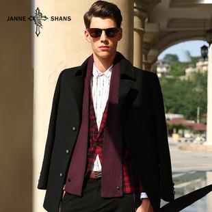 杰尼軒詩秋冬新款男士毛呢大衣圍巾羊絨大衣外套英倫呢子大衣男裝圖片