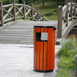 钢木圆形户外垃圾桶单筒景区垃圾桶街道物业果皮箱垃圾箱室外大号