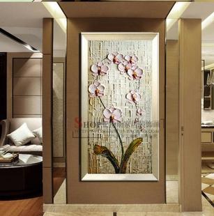 高档手绘油画欧式玄关装饰画客厅走廊竖版挂画立体有框抽象蝴蝶兰
