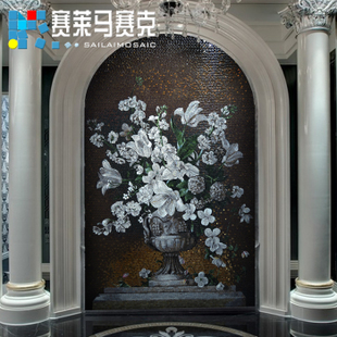 马赛克剪画艺术拼图欧式高档背景墙装饰玄关过道壁炉瓷砖