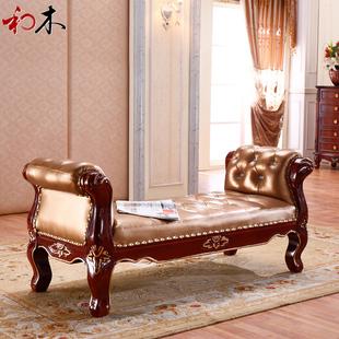 新古典床尾凳法式实木床前凳欧式床尾凳美式床榻换鞋凳床边长凳