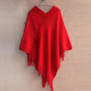 春秋女装 甜美宽松套头针织蝙蝠衫 中长款流苏斗篷披肩毛衣外套女