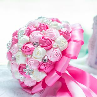 韩式手工新娘手捧花 带钻带珍珠粉红缎带玫瑰结婚花球 摄影道具
