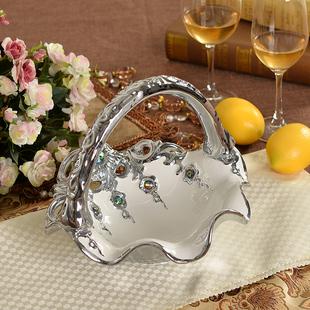 现代家居酒店装饰品客厅摆件陶瓷果盘欧式奢华复古宫廷创意水果盘