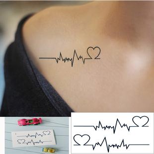 心跳心电图纹身贴英文字母刺青男女情侣学生防水纹身贴纸厂家批发