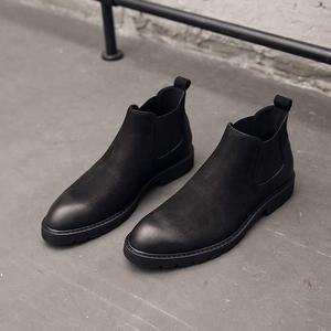 秋冬款切尔西靴男短靴真皮黑色高帮鞋欧美英伦尖头中帮马丁靴男潮