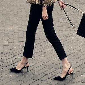 2018新款夏季細跟尖頭黑色涼鞋韓版百搭少女高跟鞋小清新后空單鞋