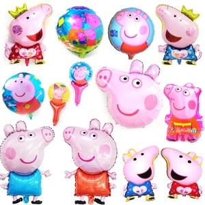 粉红猪小?#38376;?#29738;社会人气球 佩奇猪爸爸妈妈铝膜铝箔派对装饰气球