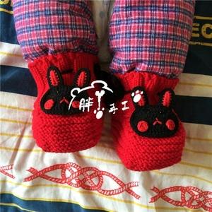 手工编织宝宝毛线鞋婴儿学步鞋棉蹄鞋可以套棉裤的毛线鞋卡通造型