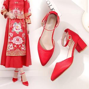 夏韓版尖頭涼鞋一字扣帶粗跟結婚鞋新娘鞋高跟中跟秀禾鞋紅色女鞋
