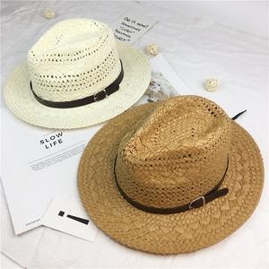 男士帽子夏季透气手工编织草帽海边度假沙滩帽防晒遮阳帽男太阳帽