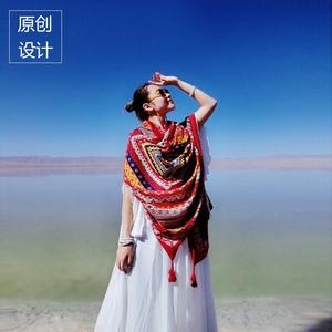 民族风红色棉麻披肩女夏季超大防晒海边沙滩丝巾沙漠旅游百搭围巾