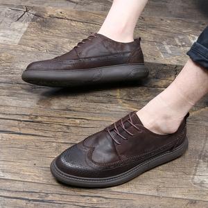 復古雕花牛皮布洛克男鞋春季休閑板鞋男皮鞋英倫真皮馬丁鞋低幫潮