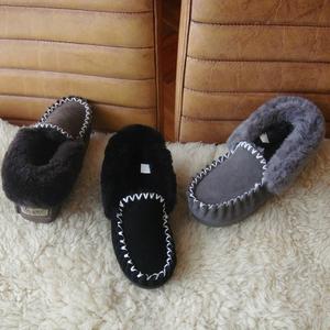 真牛皮!女式居家纯羊毛拖鞋皮毛一体雪地靴冬季新品防滑小黑鞋