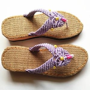 中国结手工编织凉拖鞋图片