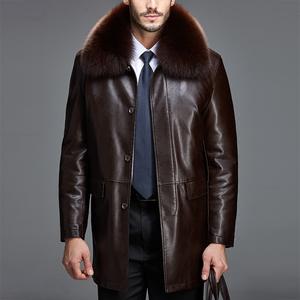 海寧真皮皮衣男裝冬裝中長款綿羊皮風衣中老年男皮草狐貍領貂內膽圖片