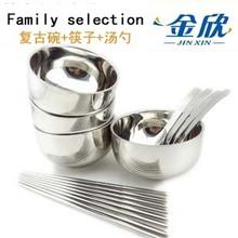 Золото счастливый корейский ретро чаша 4 месяцы квадрат палочки для еды 4 двойной корейский ложка 4 филиал семья словосочетание посуда установите