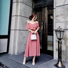 2017 новый темперамент воротник кривляние плечо тонкий строп шифон chic платье платье женщина лето
