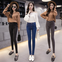 Velvet thickened jeans women spring and Autumn winter 2017 new high waist black Korean version of thin tight feet pants