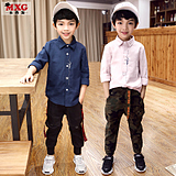 Meters West fruit children's boys shirt long sleeve pure cotton shirt 2018 spring and autumn clothing white shirt large Tong Korean tide children