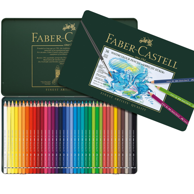 usd germany faber castell green iron box 36 color 60 color water color lead 120 color. Black Bedroom Furniture Sets. Home Design Ideas