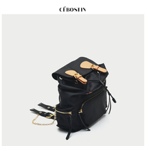 (cebostin) 1001a0988 trend simple hit color oxford cloth double Shoulder Travel cow bag