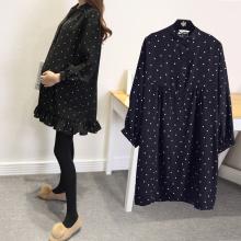 Беременная женщина загружены зимний новый верхняя одежда с длинными рукавами длина в горошек модный, подходит ко всему рубашка юбка пускай модельа одежда волна