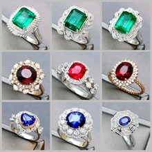 Цвет праздник ювелирные изделия мозаика настройки плюс работа красный и синий драгоценный камень изумруд 18K золотой бриллиантовое кольцо палец ожерелье жемчужина подвески
