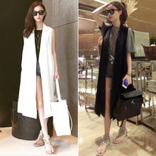 2017 новый летний женщины куртка европа и мода большой дикий длина жилет пальто женщина корейская волна