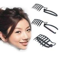1pc Black DIY Updo Bun Comb And Clip Tool Set For Hair Frenc