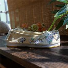 【 груша падения 】【 цветение вишни 】 китайский одежда аксессуары оригинал вышитый квартира с клинья галстук-бабочка обувной китайский одежда в моделье дефектов