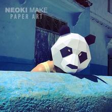 Творческий голова панды крышка бумага плесень DIY материал ручной работы маска партия составить танец может производительность из реквизит милый волна
