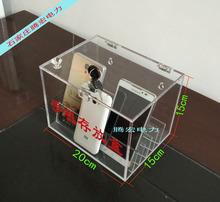 Настенный блокировка прозрачный акрил мобильный телефон депозит релиз коробка депозит релиз коробка депозит релиз удобный шкаф машина для хранения страхование трубка коробка можно настроить