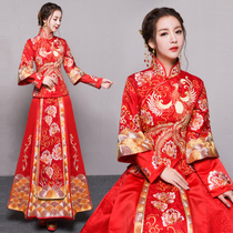 baby the same show WO clothing bride wedding toast clothing Chinese Dresses Wedding Gowns 2017 new fall show WO dragon and Phoenix gown