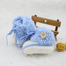 Исключительно вручную ткать рука крюк мужской и женщины ребенок синие волосы линия обувной ребенок вязание обувной зимний с дополнительным слоем пуха теплый маленький шарик обувной
