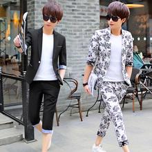 Лето рукав костюм установите мужчина облегающий, южнокорейская версия молодежь ночные клубы семь штук небольшой костюм цветы с коротким рукавом студент пальто